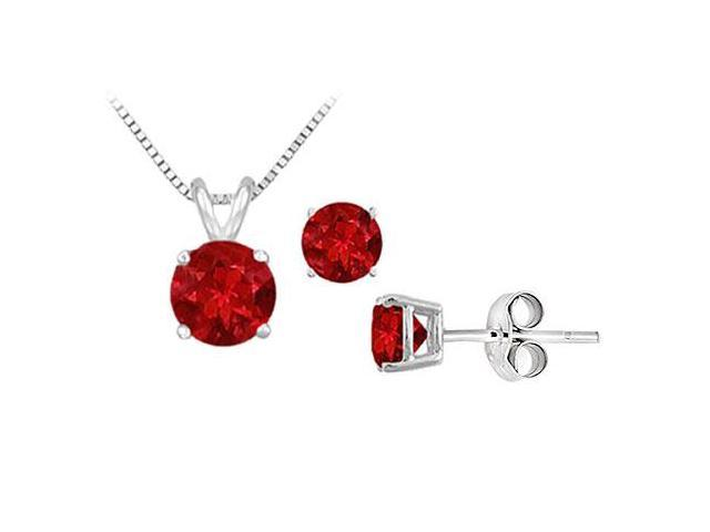 GF Bangkok Ruby Solitaire Pendant with Earrings Set in Sterling Silver 2.00 CT TGW