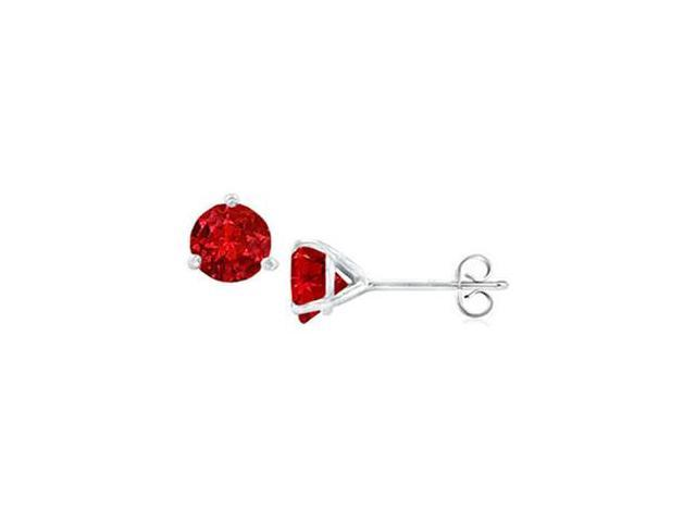 14K White Gold Martini Style GF Bangkok Ruby Stud Earrings with 2.00 CT TGW