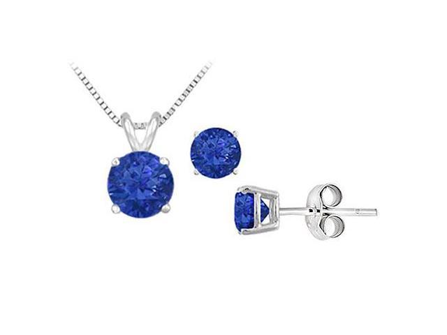 Diffuse Sapphire Solitaire Pendant with Earrings Set in Sterling Silver 2.00 CT TGW