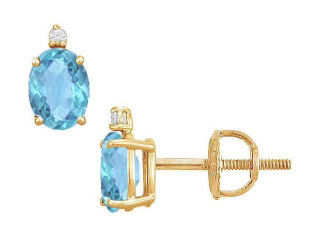 Diamond and Blue Topaz Stud Earrings  14K Yellow Gold - 2.04 CT TGW