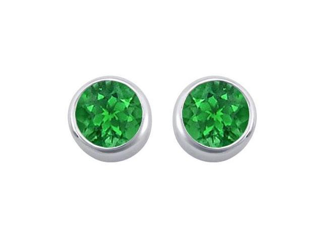 Frosted Emerald Bezel Set Stud Earrings 925 Sterling Silver 2.00 Carat Total Gem Weight