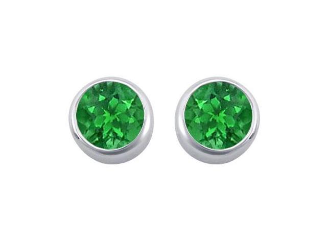 Frosted Emerald Bezel Set Stud Earrings 925 Sterling Silver 2.00 Carat Total Gem Weight