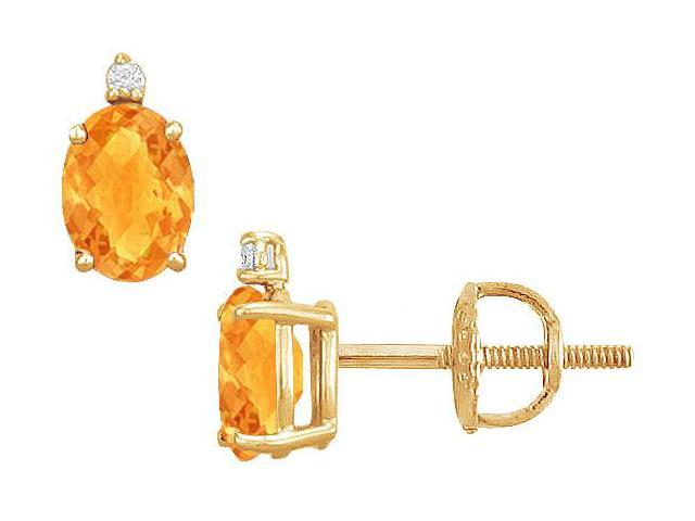 Diamond and Citrine Stud Earrings  14K Yellow Gold - 2.04 CT TGW