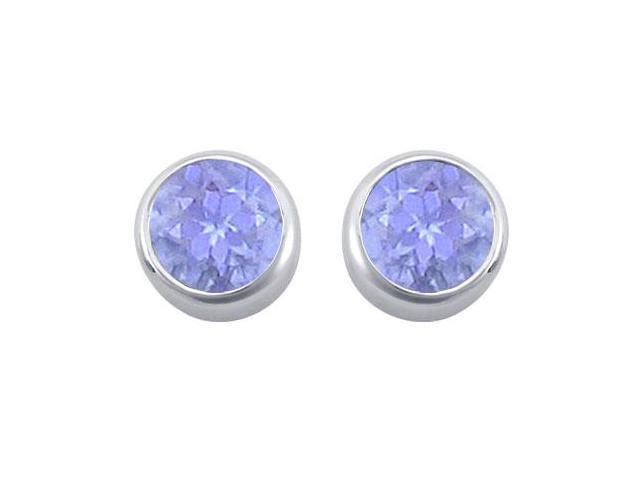 Created Tanzanite Bezel-Set Stud Earrings  .925 Sterling Silver - 2.00 CT TGW