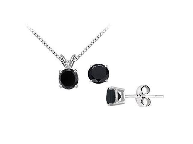 Black Onyx Solitaire Pendant with Earrings Set in Sterling Silver 2.00 CT TGW