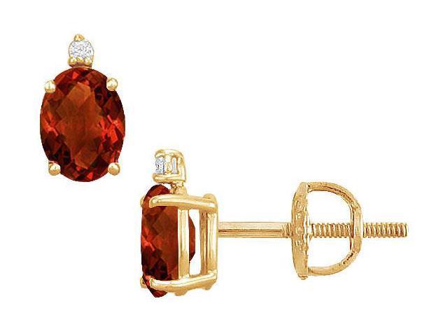 Diamond and Garnet Stud Earrings  14K Yellow Gold - 2.04 CT TGW