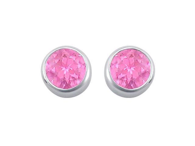 Created Pink Sapphire Bezel-Set Stud Earrings  .925 Sterling Silver - 2.00 CT TGW