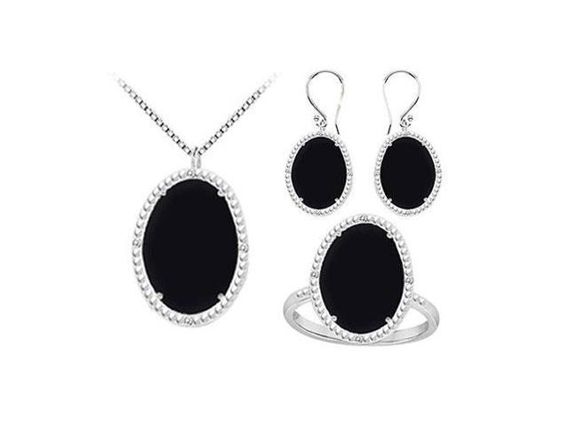 Black Onyx and Cubic Zirconia Pendant with Earrings  Ring Set in Sterling Silver 60.32 CT TGW