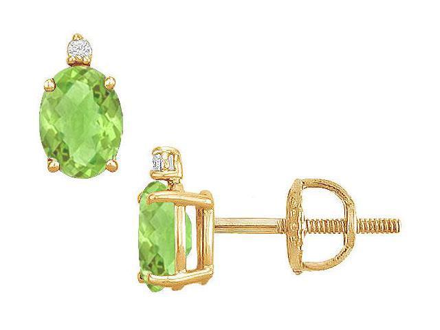 Diamond and Peridot Stud Earrings  14K Yellow Gold - 2.04 CT TGW