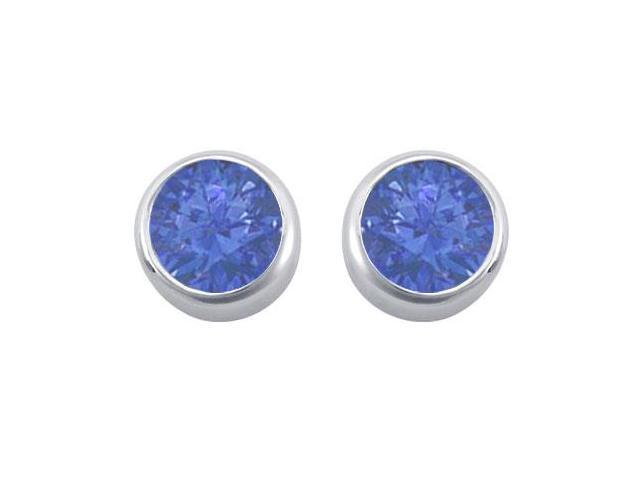 Diffuse Sapphire Bezel Set Stud Earrings 925 Sterling Silver 2.00 Carat Total Gem Weight