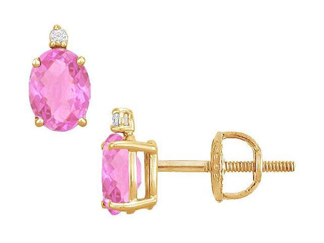 Diamond and Pink Topaz Stud Earrings  14K Yellow Gold - 2.04 CT TGW