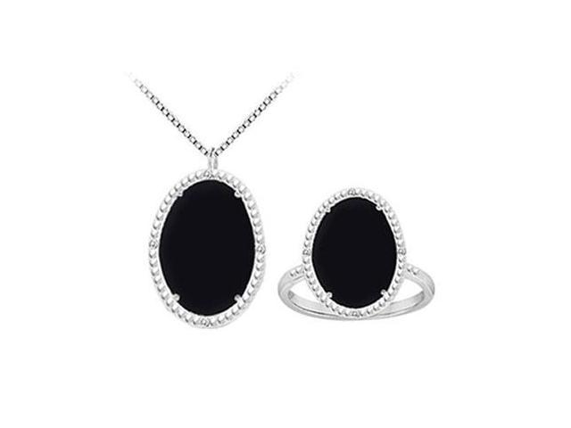 Black Onyx and Cubic Zirconia Pendant with Ring Set in Sterling Silver 30.16 CT TGW