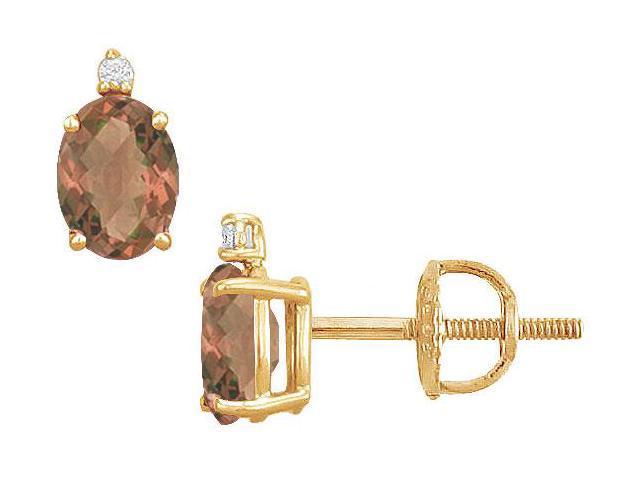 Diamond and Smoky Topaz Stud Earrings  14K Yellow Gold - 2.04 CT TGW