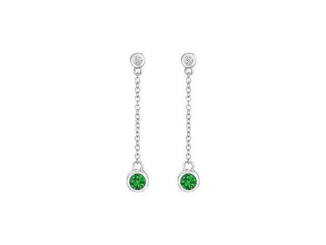 Frosted Emerald and Cubic Zirconia Earrings 925 Sterling Silver 0.60 CT TGW