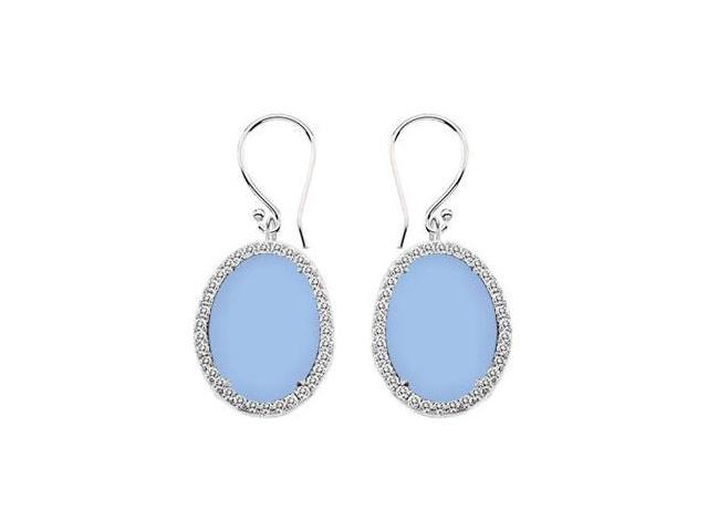 14K White Gold Aqua Chalcedony and Diamond Earrings 31.00 CT TGW