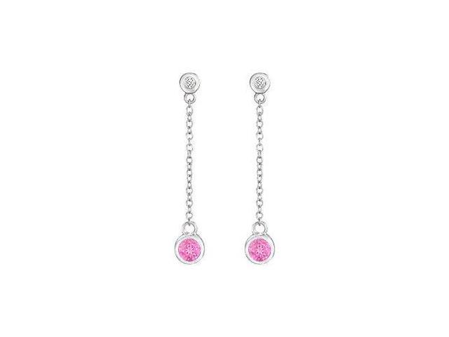Created Pink Sapphire and Cubic Zirconia Earrings  .925 Sterling Silver - 0.60 CT TGW
