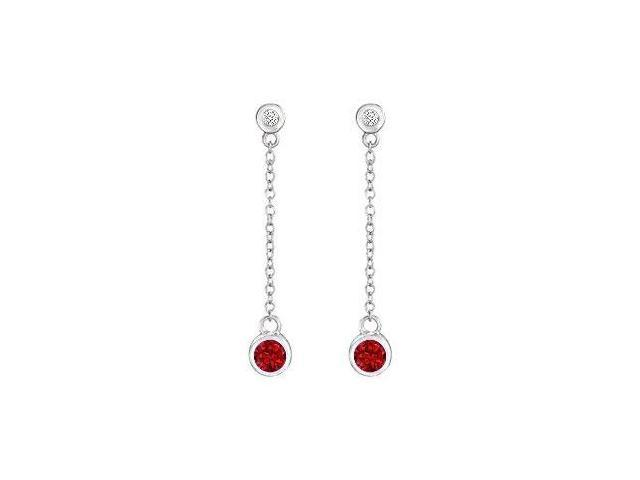 GF Bangkok Ruby and Cubic Zirconia Earrings .925 Sterling Silver  0.60 Carat Total Gem Weight