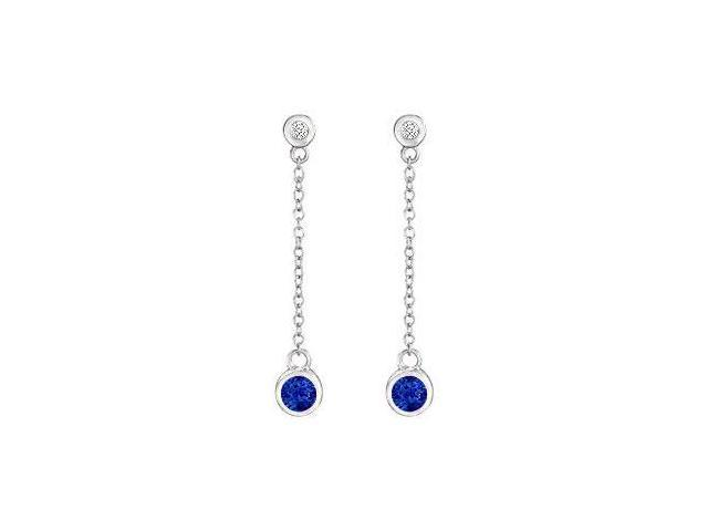 Diffuse Sapphire and Cubic Zirconia  Earrings 925 Sterling Silver 0.60 Carat Total Gem Weight