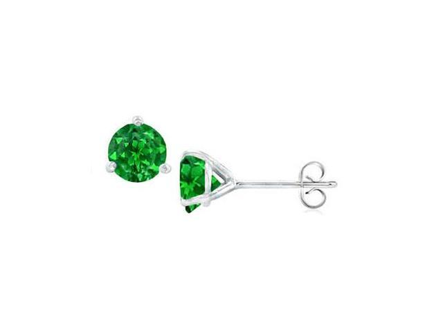 Sterling Silver Martini Style Created Emerald Stud Earrings with 0.50 CT TGW