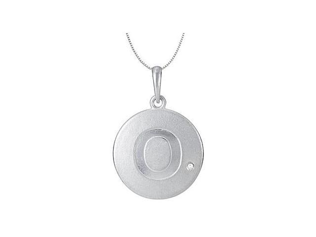 Initial Pendant Letter O with Single CZ Disc in Rhodium Plating .925 Sterling Silver Necklace