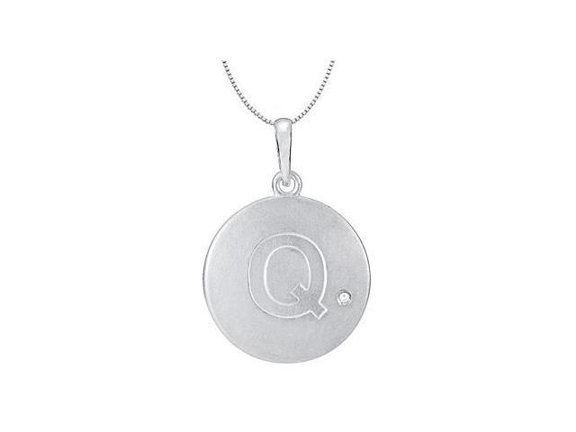 Rhodium Plating .925 Sterling Silver Block Disc Q Initial Pendant Necklace with Single Cubic Zir