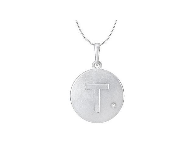 Initial Pendant Block Letter T with Cubic Zirconia Disc in Rhodium Plating .925 Sterling Silver