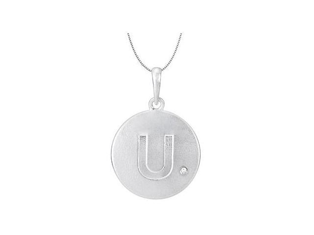 Initial Necklace in 925 Sterling Silver Letter U with Single Round Cubic Zirconia Disc Pendant