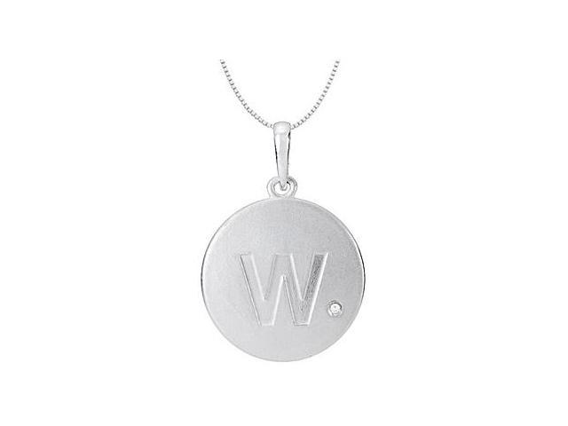 Block Initial W with Cubic Zirconia in 925 Sterling Silver Rhodium Plating Disc Pendant