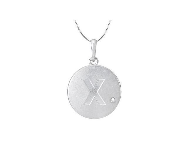 Sterling Silver 925 Rhodium Plating Block Initial X  with Single Cubic Zirconia Disc Pendant