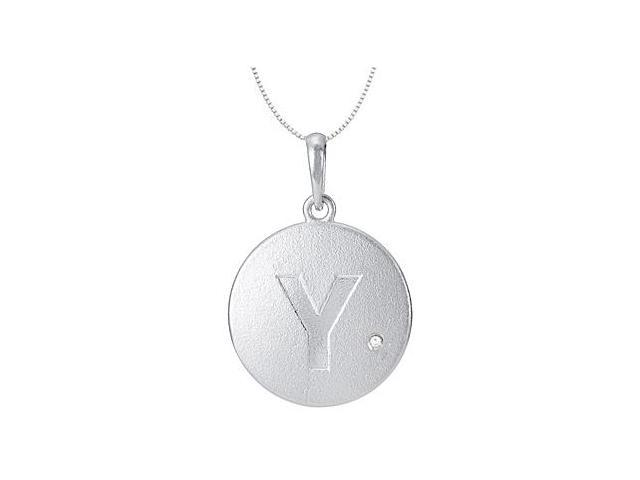 Initial Pendant Block Letter Y with Single Round CZ Disc in Rhodium Plating 925 Sterling Silver