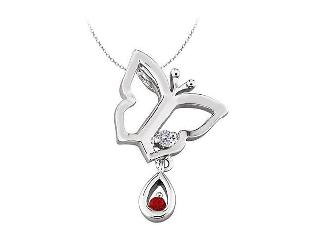 Butterfly Pendant Necklace with CZ and Created  Ruby in Sterling Silver 0.05 CT TGW