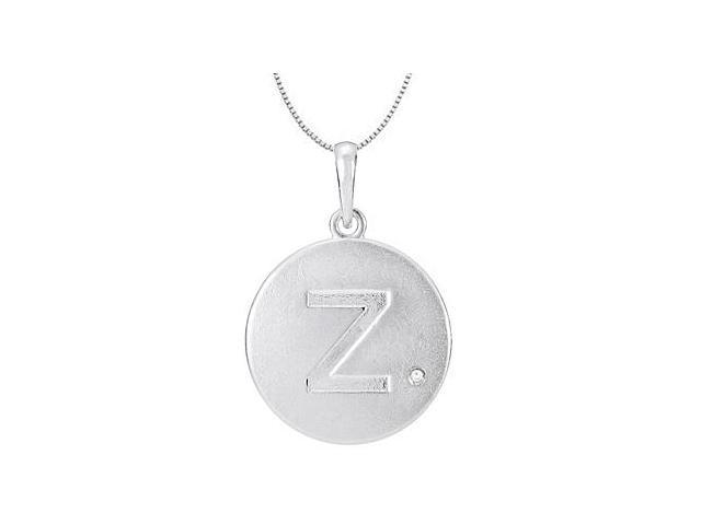 925 Sterling Silver Rhodium Plating Block Disc Z Initial Pendant Necklace with Single round Cubi