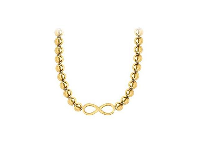 14K Yellow Gold Infinity Necklace with 10 MM Beads Set on 14K White Gold Chain and Lobster Clasp