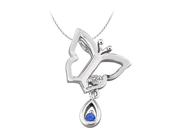 Butterfly Pendant Necklace with CZ and Created Sapphire in Sterling Silver 0.05 CT TGW