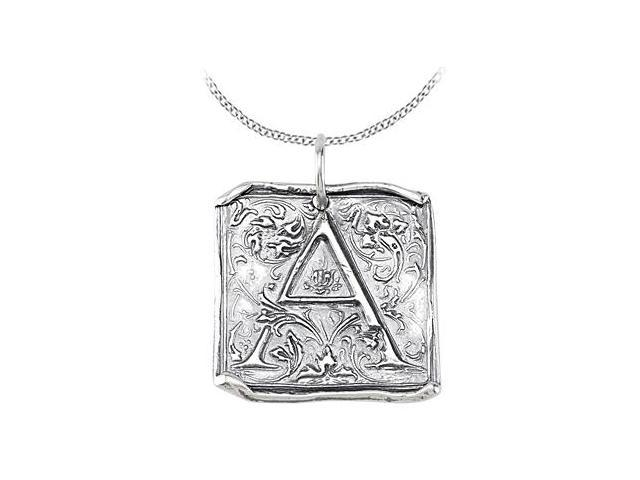 Vintage A Initial Pendant in Sterling Silver .925 Rhodium Plating