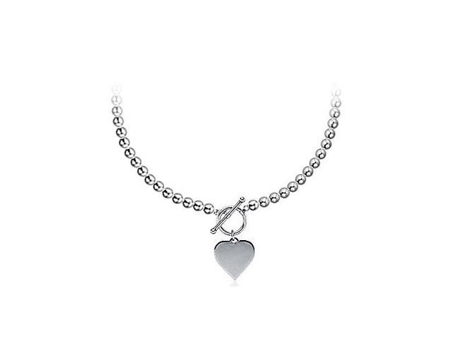 Dangle Heart Pendant in 14K White Gold with 5 MM Beads Necklace Set on 14K White Gold Chains
