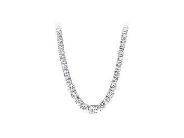 10 Carat Cubic Zirconia Graduated Eternity Necklace in White Gold 14K