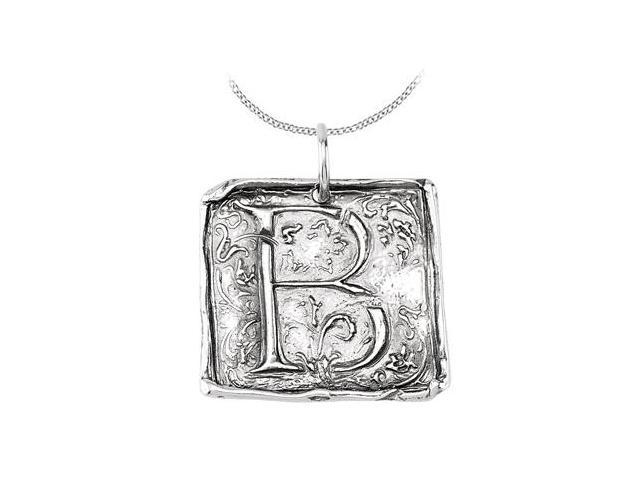 Rhodium Plating .925 Sterling Silver Vintage Letter B  Initial Pendant Necklace