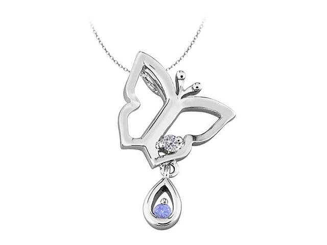 Butterfly Pendant Necklace with CZ and Created Tanzanite in Sterling Silver 0.05 CT TGW