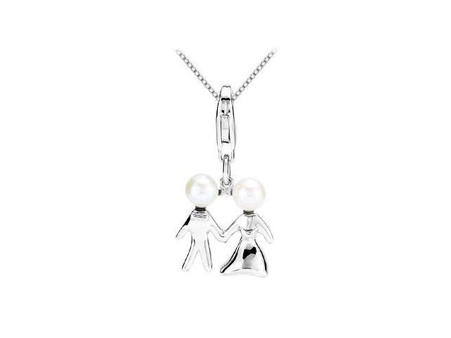 Freshwater Cultured Pearl Wedding Charm Pendant in .925 Sterling Silver 04.50-05.00 MM