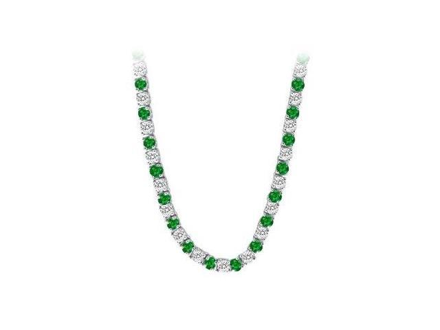 14K White Gold Emerald  Diamond Eternity Necklace 16.00 CT TGW