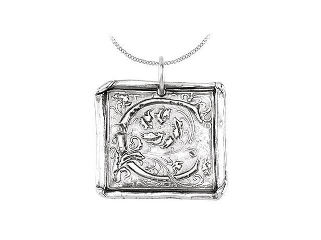 Initial Letter C Vintage Pendant in Rhodium Plating .925 Sterling Silver
