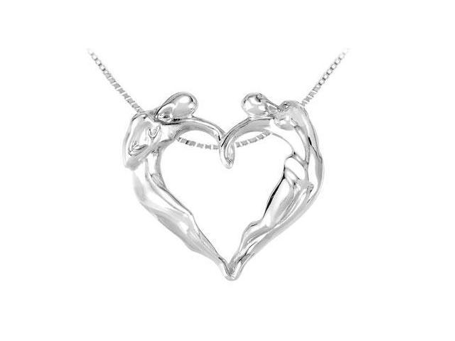 Universal Love Heart Pendant in .925 Sterling silver 16 Inch Chain
