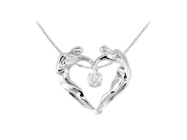 .925 Sterling Silver CZ Universal Love Heart Pendant