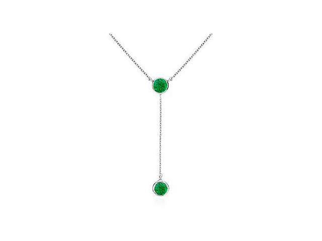 Genuine Green Emerald Drop Necklace in 14K White Gold 0.20 Carat Total Gem Weight