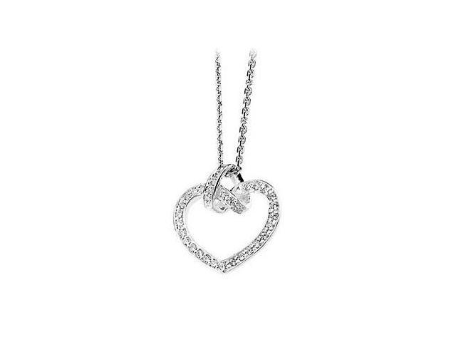.925 Sterling Silver Cubic Zirconia Heart Necklace in 18 Inch with 0.33 Carat Total Gem Weight