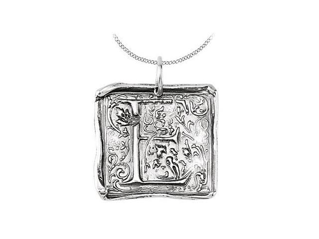 Sterling Silver .925 Rhodium Plating Vintage Letter E Initial Pendant Necklace