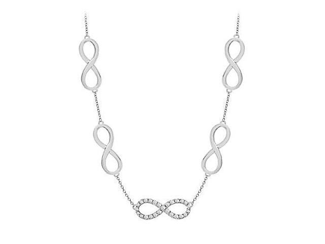 Link Infinity Diamond Necklace in 14K White Gold 0.50 Carat Diamonds