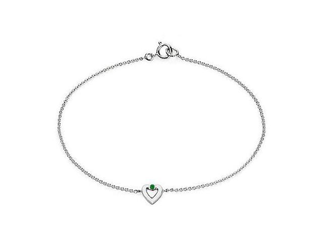 Polished Heart Necklace in 14K White Gold with Genuine Green Emerald 0.10 Carat