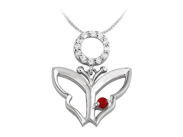 Butterfly Pendant Necklace with CZ and Created Ruby in Sterling Silver 0.15 CT TGW